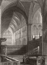 WORCS : Worcester, Cathedral, choir, antique print, c1850 (y)